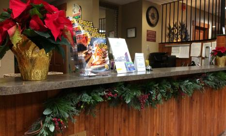Getting in the holiday spirit at the front desk of the Wedgewood Lodge in Breckenridge CO.