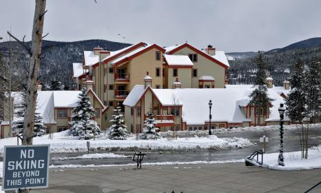 View of our Breckenridge hotel from Charter Sports.