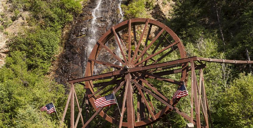 Waterfall and water wheel in Idaho Springs Colorado